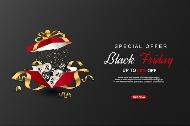 Zwarte vrijdag speciale aanbieding banners sjabloon met realistische geschenkdoos op zwarte achtergrond.