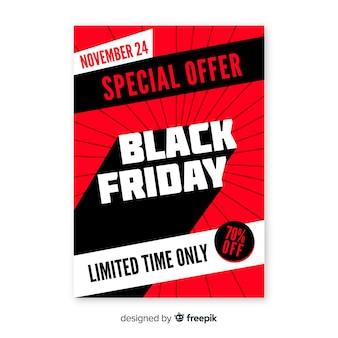 Zwarte vrijdag speciale aanbieding folder in plat ontwerp