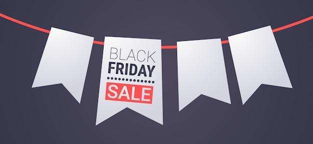 Zwarte vrijdag speciale aanbieding grote verkoop poster lint bladwijzer tag over grijze vakantie korting plat