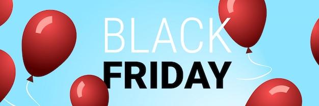 Zwarte vrijdag speciale aanbieding grote verkoop poster rode lucht ballonnen over blauwe vakantie korting plat