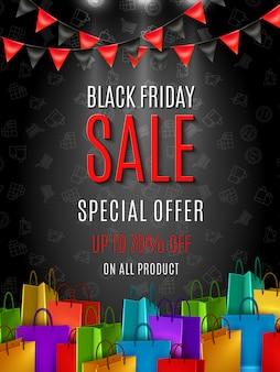 Zwarte vrijdag speciale aanbieding poster of banner sjabloon met kleurrijke boodschappentassen op donkere kleur