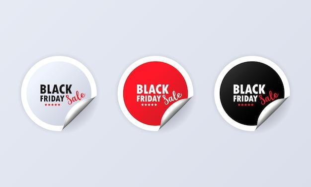 Zwarte vrijdag. stickerset. korting rode speciale aanbieding etiketten set. coupon aanbieding.