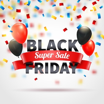 Zwarte vrijdag super verkoop banner met kleurrijke ballonnen en confetti realistische vectorillustratie