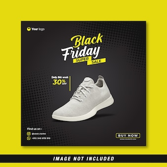 Zwarte vrijdag super verkoop sociale media sjabloon voor spandoek