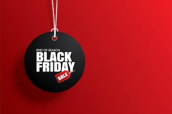 Zwarte vrijdag tag tag cirkel en het touw opknoping op rood