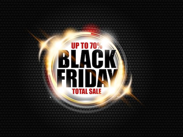 Zwarte vrijdag totale verkoopbanner op donkere koolstofachtergrond met gouden ring en lichteffectgloed. tot 70%.