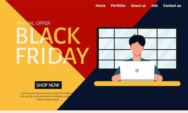 Zwarte vrijdag. vector concept website sjabloon voor app-ontwerp. super kortingen en promoties, enorme verkopen. vlakke stijl.
