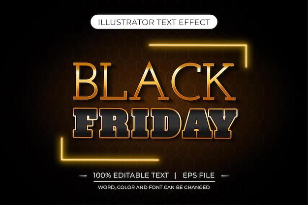 Zwarte vrijdag vector gouden en zwarte bewerkbare premium tekst effectjpg