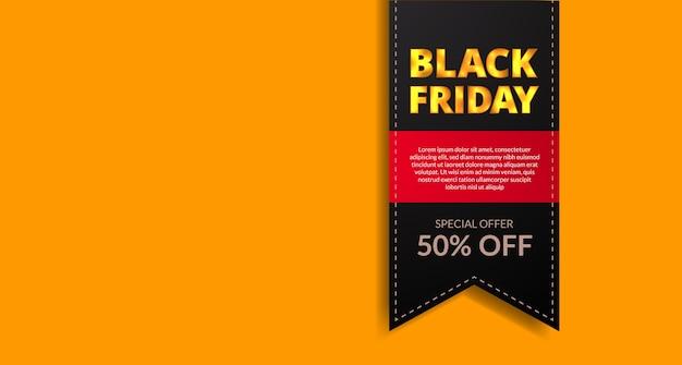 Zwarte vrijdag verkoop aanbieding prijskaartje bladwijzer label korting met witte ruimte gele achtergrond