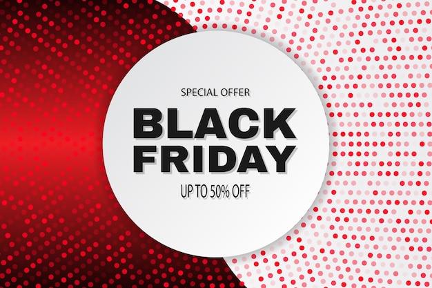 Zwarte vrijdag verkoop abstracte banner. rode en witte vector achtergrond met cirkel en halftoon effect.