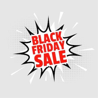 Zwarte vrijdag verkoop achtergrond in komische stijl