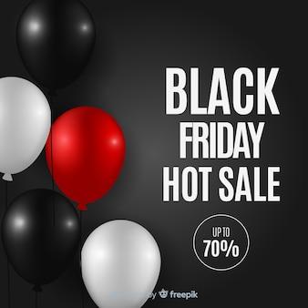 Zwarte vrijdag verkoop achtergrond met ballonnen