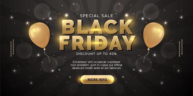 Zwarte vrijdag verkoop achtergrond met gouden ballonnen.