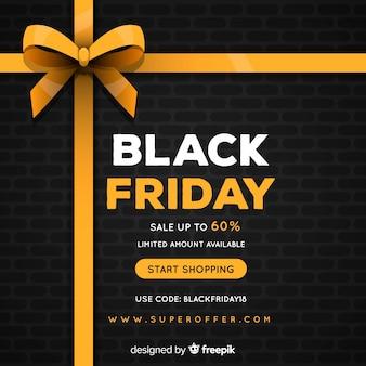 Zwarte vrijdag verkoop achtergrond met gouden lint