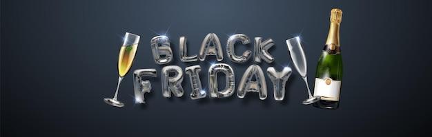 Zwarte vrijdag verkoop achtergrond met mooie zilveren ballonnen en vliegende serpentine. modern design.universele vector achtergrond voor poster, banners, flyers