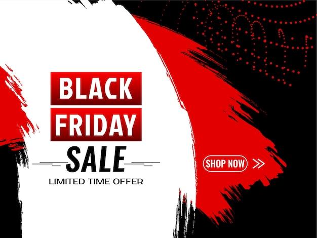 Zwarte vrijdag verkoop achtergrond met rode en witte penseelstreken