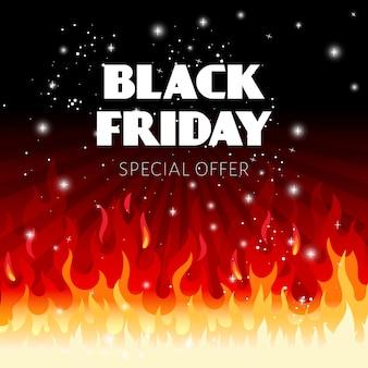 Zwarte vrijdag verkoop achtergrond met vuurvlammen en tekst illustratie