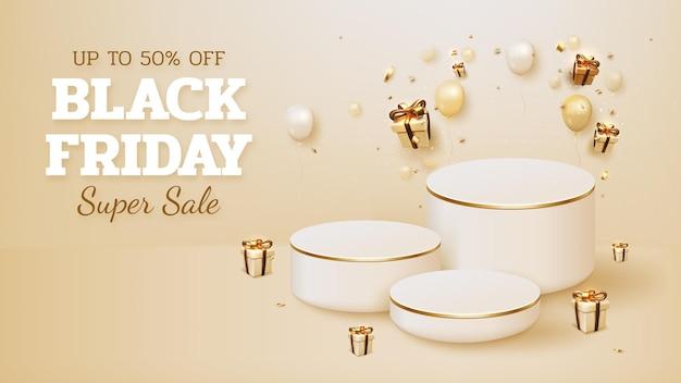 Zwarte vrijdag verkoop banner achtergrond met realistisch podium en luxe geschenkdoos met lint goud en ballonnen element. 3d-vectorillustratie.