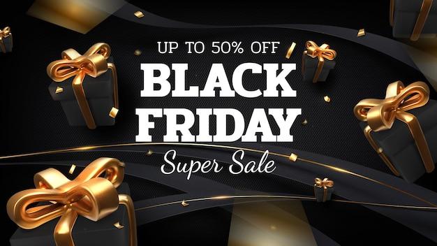 Zwarte vrijdag verkoop banner achtergrond met realistische geschenkdoos en lint gouden luxe op donkere achtergrond. 3d-realistische vectorillustratie.