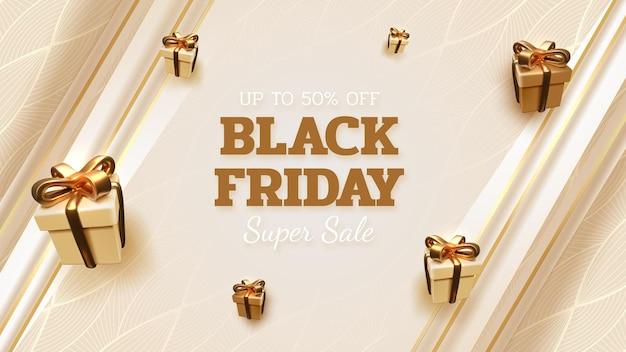Zwarte vrijdag verkoop banner achtergrond met realistische geschenkdoos met lint gouden luxe. 3d-vectorillustratie.