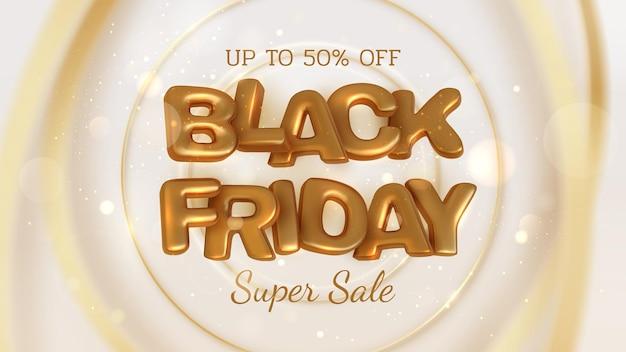 Zwarte vrijdag verkoop banner achtergrond op gouden cirkel vervagen lijn, realistische 3d luxe gouden belettering, tot 50% korting. vectorillustratie.