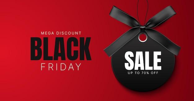 Zwarte vrijdag verkoop banner korting achtergrond met zwart label en zwart lint met strik vector