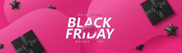 Zwarte vrijdag verkoop banner lay-out ontwerpsjabloon grafische abstracte roze achtergrond.