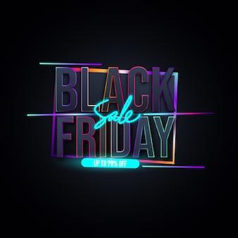 Zwarte vrijdag verkoop banner lay-out ontwerpsjabloon. levendig neonkleurenontwerp.