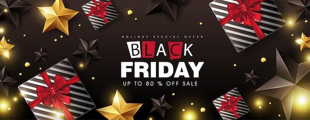 Zwarte vrijdag verkoop banner lay-out ontwerpsjabloon met geschenkdoos, zwarte en gouden sterren.