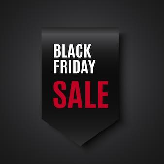 Zwarte vrijdag verkoop banner. lint. label. .
