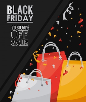 Zwarte vrijdag verkoop banner met boodschappentassen