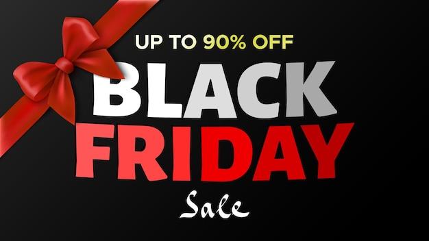Zwarte vrijdag verkoop banner met cadeau rode strik