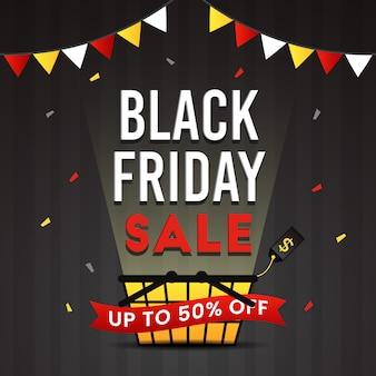 Zwarte vrijdag verkoop banner met confetti ontwerp