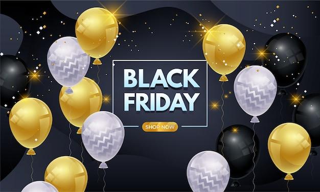 Zwarte vrijdag verkoop banner met glanzende ballonnen en confetti premium Premium Vector