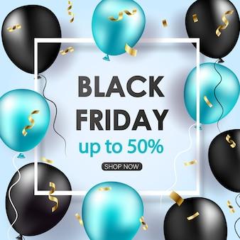 Zwarte vrijdag verkoop banner met glanzende ballonnen