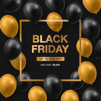 Zwarte vrijdag verkoop banner met glanzende zwarte ang gouden ballonnen