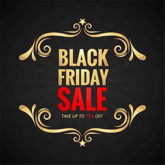 Zwarte vrijdag verkoop banner met gouden frame