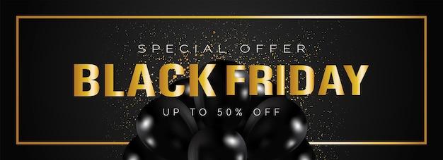 Zwarte vrijdag verkoop banner met gouden letters