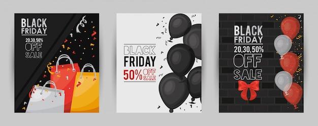 Zwarte vrijdag verkoop banner met kaartenbundel