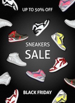 Zwarte vrijdag verkoop banner met kleurrijke sneakers