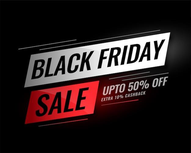 Zwarte vrijdag verkoop banner met korting details
