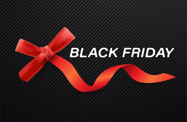 Zwarte vrijdag verkoop banner met rood lint en witte witte tekst op textuur achtergrond.