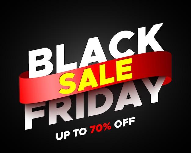Zwarte vrijdag verkoop banner met rood lint. illustratie.