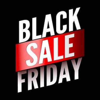 Zwarte vrijdag verkoop banner met rood lint.