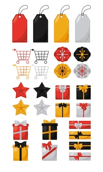 Zwarte vrijdag verkoop banner met set pictogrammen