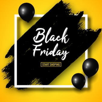Zwarte vrijdag verkoop banner met zwarte penseelstreken, zwarte lucht ballonnen en wit vierkant frame op geel.
