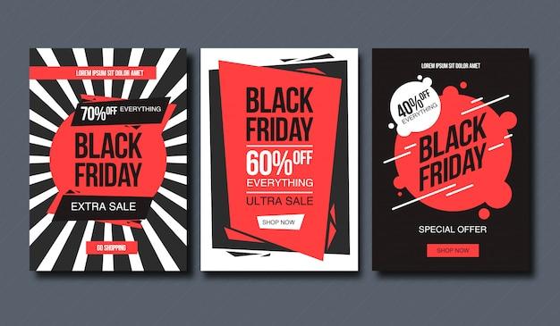 Zwarte vrijdag verkoop banner ontwerpsjabloon. conceptuele lay-out voor banner en print.