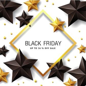Zwarte vrijdag verkoop banner ontwerpsjabloon met zwarte en gouden sterren.