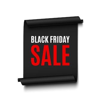 Zwarte vrijdag verkoop banner. papierrol. illustratie.