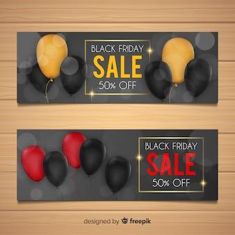 Zwarte vrijdag verkoop banner set met ballonnen